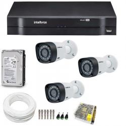 Kit CFTV Completo Com 3 Câmeras Intelbras