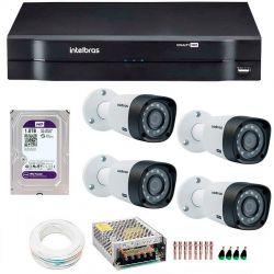 Kit CFTV Completo Com 4 Câmeras Intelbras